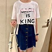 レディース カジュアル/普段着 Tシャツ,シンプル ラウンドネック ソリッド レタード コットン 半袖