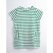 女の子の ストライプ コットン ドレス 夏 半袖