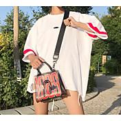Mujer Chic de Calle Noche Camiseta,Escote Redondo Estampado Bloques Manga 3/4 Otro