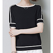 Mujer Simple Casual/Diario Camiseta,Escote Redondo A Rayas Manga Corta Algodón Otro