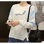 Mujer Simple Noche Camiseta,Escote Redondo Un Color Estampado Manga Larga Algodón