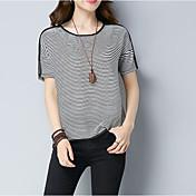 レディース お出かけ カジュアル/普段着 夏 Tシャツ,シンプル ラウンドネック ストライプ コットン 半袖