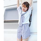 Mujer Simple Noche Verano T-Shirt Falda Trajes,Escote Redondo Un Color A Rayas Manga Corta Microelástico