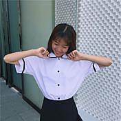 レディース カジュアル/普段着 シャツ,シンプル スクエアネック ストライプ コットン 半袖