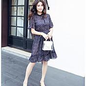 Mujer Corte Ancho Vestido Casual/Diario Simple,Floral Escote Chino Hasta la Rodilla Manga Corta Otro Verano Tiro Alto Microelástico Fino