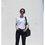 レディース カジュアル/普段着 Tシャツ,シンプル ラウンドネック 幾何学模様 プリント コットン 半袖