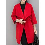 Mujer Tallas Grandes Abrigo Corte Ancho Un Color Estilo clásico