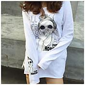 Mujer Simple Casual/Diario Camiseta,Escote Redondo Estampado Letra Manga Larga Algodón