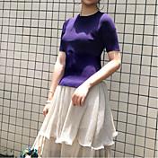 レディース カジュアル/普段着 Tシャツ,セクシー シンプル キュート ラウンドネック ソリッド コットン 半袖