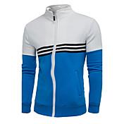 Herrer Sport Afslappet/Hverdag Simple Sweatshirt Ensfarvet Farveblok V-hals Bomuld Rayon Mikroelastisk Langærmet Efterår Vinter