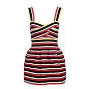 女性用 ワーク シース 膝丈 ドレス, ソリッド ストライプ ノースリーブ ストラップ