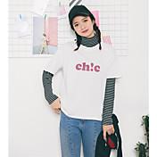 レディース カジュアル/普段着 Tシャツ,ストリートファッション スタンド ストライプ カラーブロック コットン 長袖