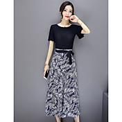 Mujer Simple Casual/Diario Verano T-Shirt Pantalón Trajes,Escote Redondo Floral Hoja Manga Corta
