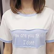 レディース スポーツ カジュアル/普段着 Tシャツ,シンプル 活発的 ラウンドネック プリント コットン 半袖