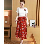Mujer Simple Casual/Diario Verano T-Shirt Falda Trajes,Escote Redondo Floral Manga Corta Microelástico