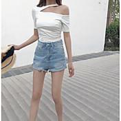 レディース カジュアル/普段着 Tシャツ,シンプル ワンショルダー ソリッド コットン 半袖