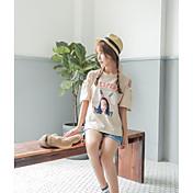 レディース カジュアル/普段着 Tシャツ,セクシー ラウンドネック ソリッド プリント コットン 半袖