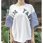 レディース カジュアル/普段着 Tシャツ,シンプル ラウンドネック ストライプ レタード コットン ハーフスリーブ