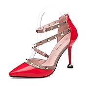 Mujer Tacones Confort Semicuero Otoño Vestido Remache Tacón Stiletto Blanco Negro Gris Rojo Rosa claro 7'5 - 9'5 cms