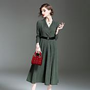 Mujer Corte Swing Vestido Noche Casual/Diario Simple,Un Color Escote en Pico Midi Manga Larga Seda Lino Poliéster Invierno Otoño Tiro