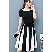 レディース カジュアル/普段着 夏 Tシャツ(21) スカート スーツ,シンプル ボートネック ストライプ 半袖