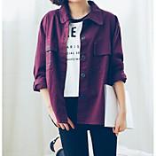 レディース お出かけ カジュアル/普段着 春 ジャケット,ストリートファッション シャツカラー ソリッド レギュラー コットン 長袖