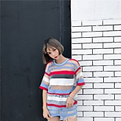 レディース カジュアル/普段着 Tシャツ,キュート ラウンドネック ストライプ カラーブロック ポリエステル 七分袖