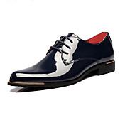 Hombre Zapatos Cuero Patentado Primavera Otoño Confort Innovador Oxfords Con Cordón Para Boda Fiesta y Noche Negro Azul