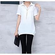 Mujer Simple Casual/Diario Camiseta,Escote Chino Un Color Manga Corta Algodón
