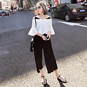 Mujer Chic de Calle Noche Verano T-Shirt Pantalón Trajes,Escote Redondo Un Color Manga Corta Espalda al Aire Inelástica