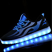 Hombre Zapatillas de Atletismo Suelas con luz Zapatos con luz Primavera Otoño PU Paseo Deportivo Con Cordón LED Tacón Plano Negro/blanco
