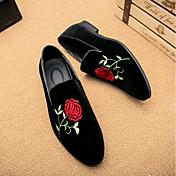 男性用 靴 スエード 春 秋 コンフォートシューズ ローファー&スリップアドオン サテンフラワー のために カジュアル ブラック