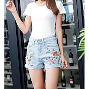 Mujer Casual Tiro Alto Microelástico Delgado Vaqueros Shorts Pantalones,Floral Verano
