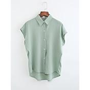 レディース カジュアル/普段着 シャツ,シンプル シャツカラー ソリッド ポリエステル 半袖