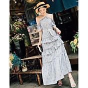 女性用 シース ドレス フラワー マキシ オフショルダー