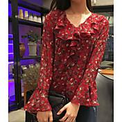 Mujer Simple Casual/Diario Blusa,Escote en Pico Floral Estampado Manga Larga Lino