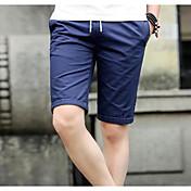 Hombre Casual Tiro Medio Microelástico Delgado Shorts Pantalones, Bloques Verano