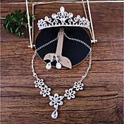 女性用 ネックレス フロントバックイヤリング ラインストーン ファッション ラインストーン 合金 フラワー 用途 結婚式 ウェディングギフト