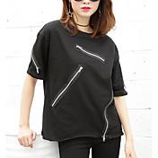 Mujer Simple Casual/Diario Verano Camiseta,Escote Redondo Un Color Manga Corta Algodón Otro