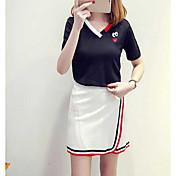 レディース カジュアル/普段着 夏 Tシャツ(21) スカート スーツ,シンプル Vネック ソリッド 半袖