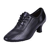 Mujer Zapatos de Baile Moderno Cuero Sandalia / Zapatilla Tacón Cuadrado Zapatos de baile Negro / Profesional