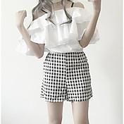 レディース カジュアル/普段着 夏 Tシャツ(21) パンツ スーツ,シンプル ボートネック 格子柄 半袖