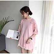 Mujer Simple Casual/Diario Camiseta,Escote Redondo Un Color Media Manga Algodón Lino