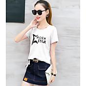 Mujer Simple Casual/Diario Camiseta,Escote Redondo Geométrico Manga Corta Algodón
