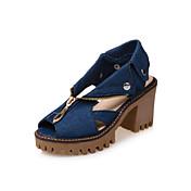 Mujer Zapatos Cuero Nobuck / Vaquero Primavera / Otoño Confort / Innovador Tacones Tacón Cuadrado Punta abierta Remache / Cremallera Azul