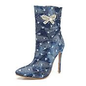 Damer Sko Denim Efterår Vinter Cowboy / Western Støvler Modestøvler Støvler Stilethæl Spidstå Støvletter Bjergkrystal Rosette Lynlås Til
