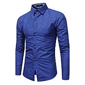 Hombre Tejido Oriental Casual/Diario Tallas Grandes Camisa,Cuello Camisero Un Color Manga Larga Poliéster