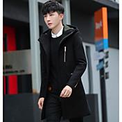 メンズ カジュアル/普段着 冬 コート,シンプル フード付き ソリッド ロング その他 長袖