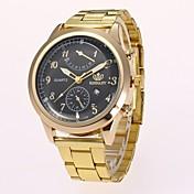 男性用 ドレスウォッチ ファッションウォッチ リストウォッチ 中国 クォーツ 模造ダイヤモンド 合金 バンド カジュアルスーツ エレガント腕時計 ゴールド