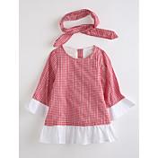 Vestido Chica de Escocés Algodón Manga Larga Otoño